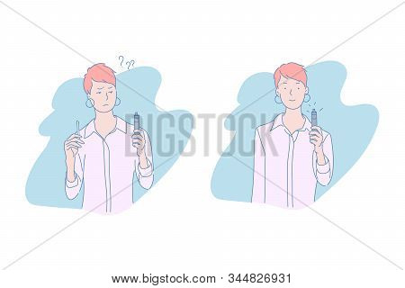 Woman With Tobacco And Electronic Cigarette Concept. Healthy Lifestyle, Giving Up Smoking, Vaping, D