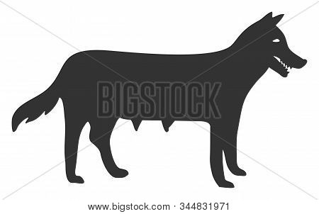 Dog Bitch Raster Icon. Flat Dog Bitch Pictogram Is Isolated On A White Background.