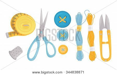 Sewing Notions And Sewing Supplies Vector Set. Tools For Handmade Activity Collection