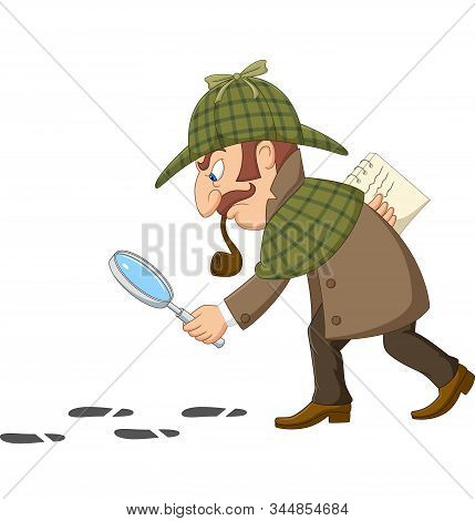 Vector Illustration Of Cartoon Of A Detective Investigate Following Footprints