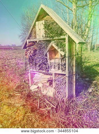 Decorative Bug House From Sandstone And Wood, Ladybird And Bee Home For Butterfly Hibernation And Ec