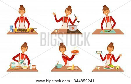 Young Cheerful Woman Cooking And Baking At Home Set, Housewife Preparing Food In The Kitchen Vector