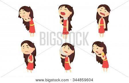 Sickness Girl Suffering From Different Symptoms Collection, Female Person Having Headache, Toothache