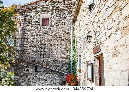Town Of Hum, Beautiful Old Stone Traditional Architecture In Istria, Croatia, Countryside Landscape