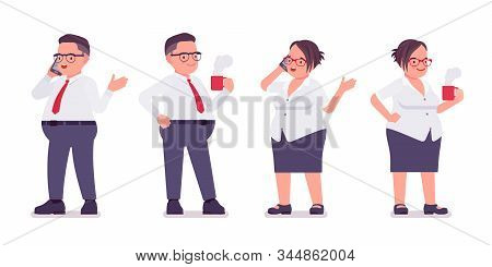 Fat Male, Female Clerk Stand With Mug, Phone. Heavy Middle Age Business People, Office Manager, Civi
