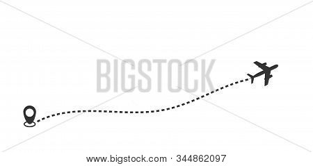 Dotted Route Track With Plane And Gps Pin. Vector Thin Line Icon Illustration. Flight, Vacation, Tri