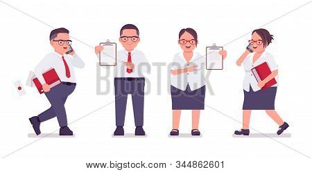Fat Male, Female Clerk With Check List, Paper. Heavy Middle Age Business People, Office Manager, Civ
