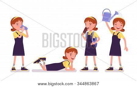 School Girl Entertainment, Enjoy Ice Cream, Drink. Cute Happy Small Lady In Pretty Pinafore Dress, A