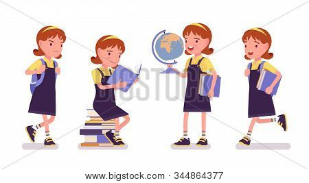School Girl With Books And Globe. Cute Small Lady In Pretty Pinafore Dress With Rucksack, Active You