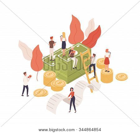 Cartoon Tiny People Working Tablet For Budget Planning Isometric Vector Illustration. Character Sitt