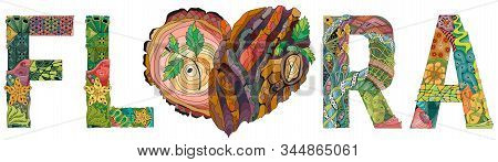 Flora Wjth Doodle Heart With Tree Bark Texture And Young Shoots
