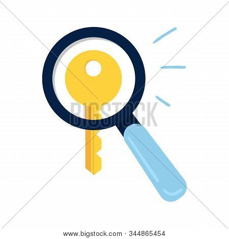 Modern Keyword Search Concept. Big Magnifying Glass Searching For Keys To Improve Website Page Rank.