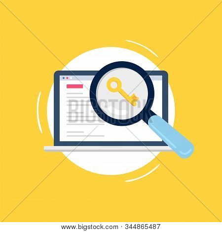 Colorful Search Engine Optimization Concept. Big Magnifying Glass Searching For Keywords To Improve