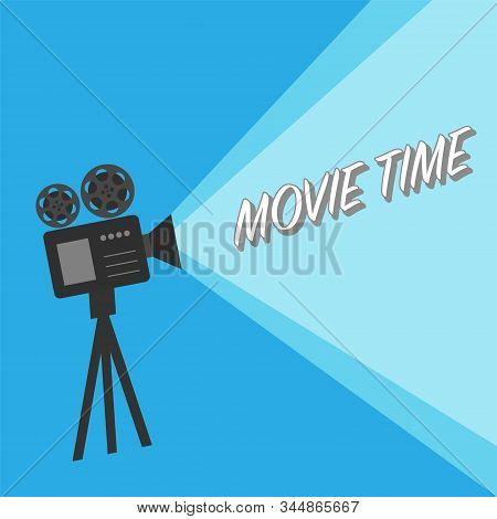 Movie Time Poster. Vintage Cinema Film Projector, Home Movie Theater And Retro Camera Vector Illustr