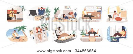 Freelance People Work In Comfortable Conditions Set Vector Flat Illustration. Freelancer Character W
