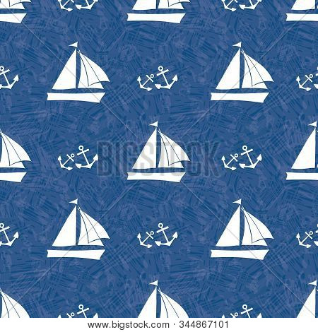 Stencil Style Vector White Sailing Boats And Sets Of Anchors. Seamless Pattern On Navy Blue Backgrou