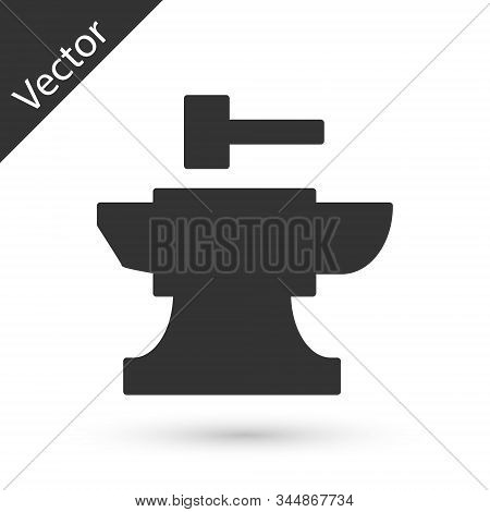 Grey Anvil For Blacksmithing And Hammer Icon Isolated On White Background. Metal Forging. Forge Tool