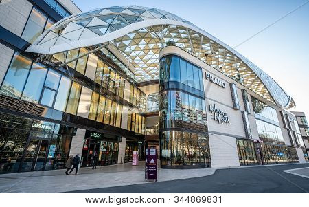 Marseille France, 28 December 2019 : Prado Shopping Mall Exterior Wide Angle View In Marseille Franc