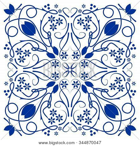 Blue Azulejo Ceramics Tile, Folklore Patterns In Cobalt Blue On White Background.