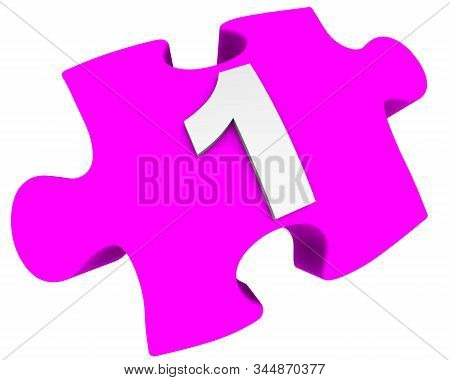 The Number One. Puzzle Element. The White Number 1 (one) On A Pink Puzzle Element. Isolated. 3d Illu