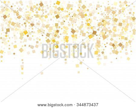 Metalic Gold Square Confetti Tinsels Flying On White. Chic Christmas Vector Sequins Background. Gold