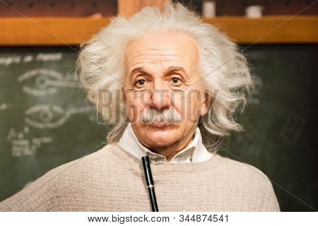 Istanbul, Turkey - March 16, 2017: Albert Einstein  Wax Figure At Madame Tussauds Museum In Istanbul