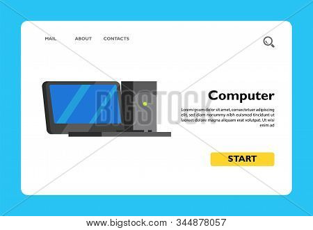Vector Icon Of Desktop Computer With Monitor. Computer, Pc, Technology. Computer Games Concept. Can