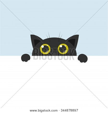 Curious Cute Black Cat With Big Yellow Eyes, Cartoon Flat Vector Illustration With Blank Banner For