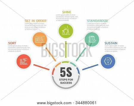 5s Steps For Success With Icon Circle Are Roll Diagram Chart Vector Design