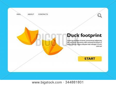 Icon Of Yellow Paws Of Duck. Animal, Footprint, Waterfowl Family. Animal Concept. Can Be Used For To