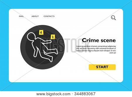 Icon Of Crime Scene With Chalk Outline And Two Evidence Cards. Crime, Investigation, Evidence. Inves