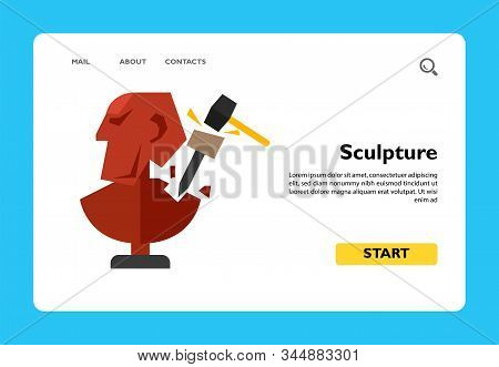 Illustration Of Unfinished Sculpture With Chisel And Hammer. Creating Sculpture, Sculptor, Occupatio