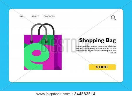 Illustration Of Shopping Bag With E Letter. Shopping Online, Technology, E-shop. E-commerce Concept.