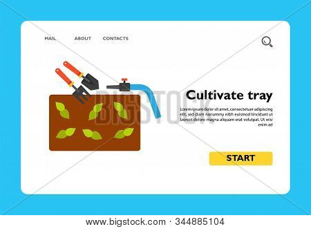 Icon Of Cultivate Tray. Fertile Soil, Cultivation, Tool. Seeding Concept. Can Be Used For Topics Lik