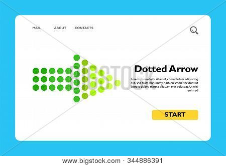 Illustration Of Dotted Arrow. Direction, Sideway, Pointer. Direction Concept. Can Be Used For Topics