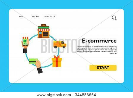 Scheme Of Online Shopping. Internet Store, Customer, Order. E-commerce Concept. Can Be Used For Topi