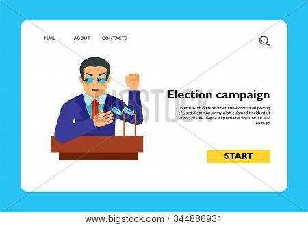 Politician Holding Election Campaign At Tribune. Oath, President, Witness In Court. Elections Concep