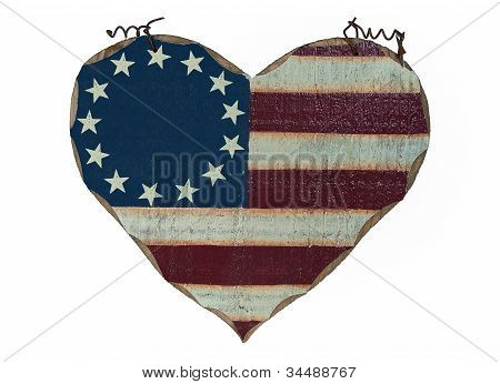 old-fashioned wooden heart flag