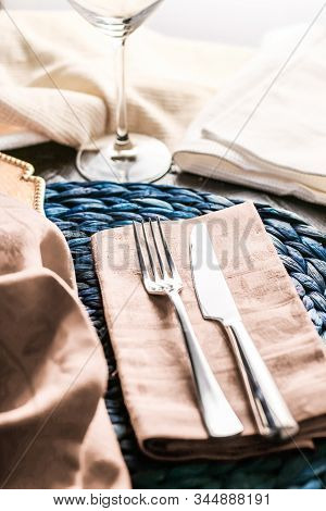 Holiday Table Setting With Beige Napkin And Silver Cutlery, Food Styling Props, Vintage Set For Wedd
