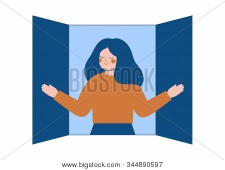 Young Woman Opens The Window Shutters And Breathes In The Fresh Air. Concept Of Freedom