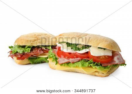 Delicious Sandwiches With Fresh Vegetables Isolated On White