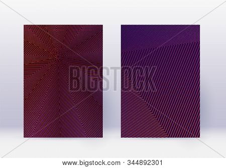 Cover Design Template Set. Abstract Lines Modern Brochure Layout. Violet Vibrant Halftone Gradients