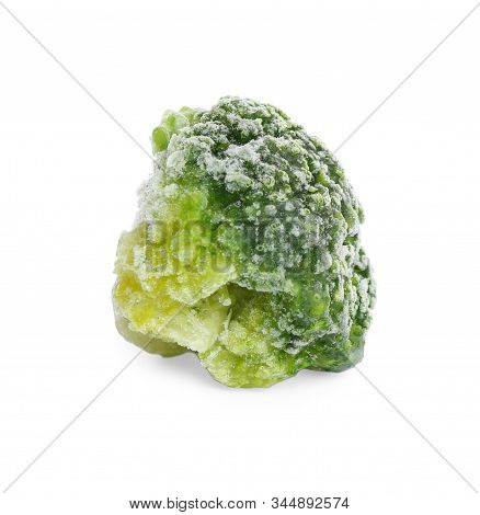 Frozen Broccoli Floret Isolated On White. Vegetable Preservation