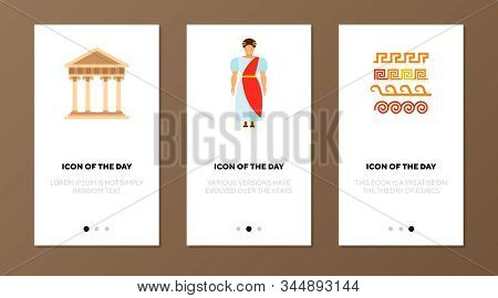 Roman Empire Flat Vector Icon Set. Ancient Building With Columns, Man In Tunic Isolated Outline Sign