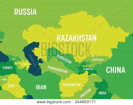 Central Asia Map - Green Hue Colored On Dark Background. High Detailed Political Map Of Central Asia