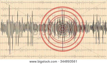 Earthquake Background. Seismogram For Seismic Measurement. Richter Seismograph