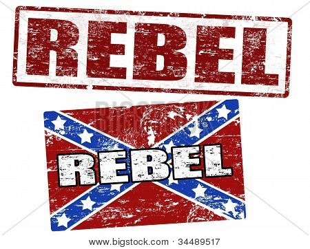 Confederate Flag And Rebel Stamp