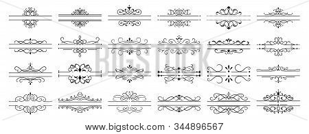 Calligraphic Dividers. Decorative Retro Page Divider Borders, Wedding Calligraphic Frame And Ornamen