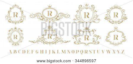 Luxury Monogram. Vintage Ornamental Decorative Monograms, Retro Luxury Golden Wreath Emblem And Baro
