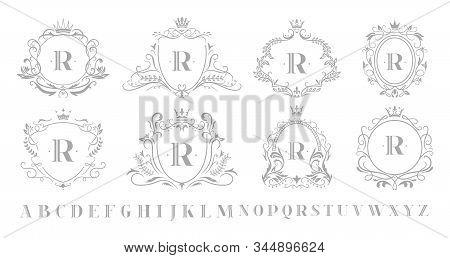Vintage Monogram Emblem. Retro Art Ornamental Luxury Emblems, Royal Crown Monograms Wreath And Weddi